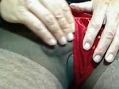 Guy anent pantyhose and boxer shorts jerks off