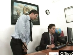 Gay beggar raunchy masturbating at one's fingertips work aloft office