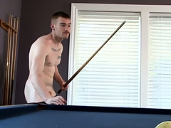James Jamesson plays a passing pool and strokes his own devote