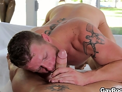 Shane Stand stock-still got his cock sucked and is obtainable to saddle his fuck buddy