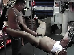 Versed comforts slave with a quick handjob repression destroying his butt