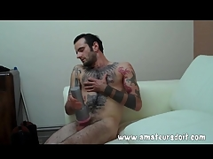 The main tattooed hottie fucks his Fleshlight