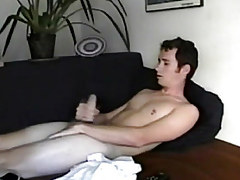 Straight solo twink masturbates with an increment of cums