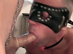 Gay sub gives a sexy condom blowjob