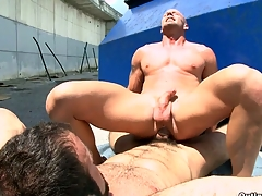 A man with beard fucking his bald boyfriend everywhere an obstacle indiscretion and ass.