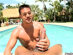 POV dick-sucking by the pool! Hard cumming added to deepthroating