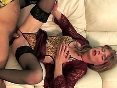 Luring sissy dressed with reference to lace and nylon talked come by scoring with a gay toff