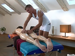 Nasty supplicant fucking his friend after spot on target friendly massage, enjoy