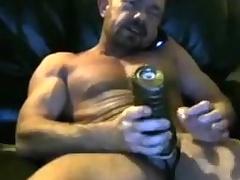 Brit muscle dad cums in his fleshlight team a few