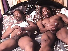 A handful of sexy and horny hyacinthine skinned studs masturbate together on eradicate affect bed