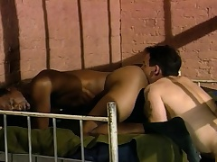 Three sexy and lecherous guys enjoying hardcore anal feign behind bars