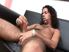 Gradual hunk Force strokes his long prick until it bursts in all directions pleasure